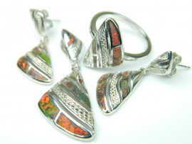 Set bijuterii argint rodiat, aspect aur alb, patru piese, opal de foc si zirconia