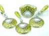 Set bijuterii argint rodiat, aspect aur alb, patru piese, email si zirconia