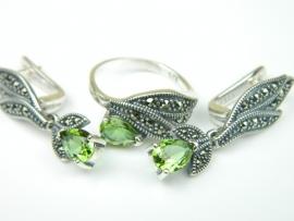 Set bijuterii argint, cercei si inel, zultenit si marcasite