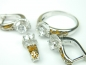 Set bijuterii argint rodiat, aspect aur alb, patru piese, email, topaz si zirconia
