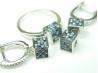 Set bijuterii argint rodiat, aspect aur alb, patru piese, si zirconii multicolore