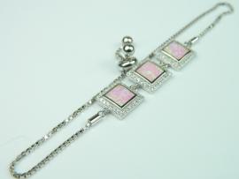 Bratara argint rodiat, aspect aur alb, opal roz si zirconii