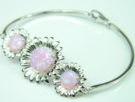 Bratara argint rodiat, aspect aur alb, opal roz