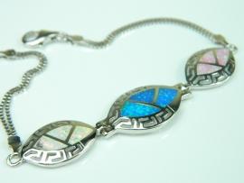 Bratara argint rodiat, aspect aur alb, opal imperial, opal roz si opal alb