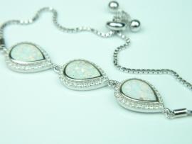 Bratara argint rodiat, aspect aur alb, opal alb si zirconii
