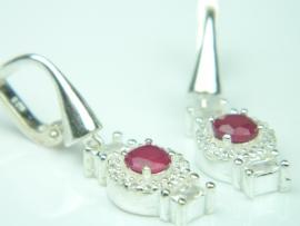 Cercei argint, rubin si zirconia