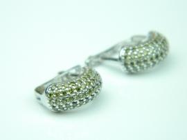 Cercei argint rodiat, aspect aur alb, zirconii