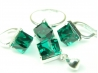 Set bijuterii argint, patru piese, smarald