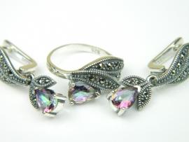 Set bijuterii argint, cercei si inel, topaz mistic si marcasite