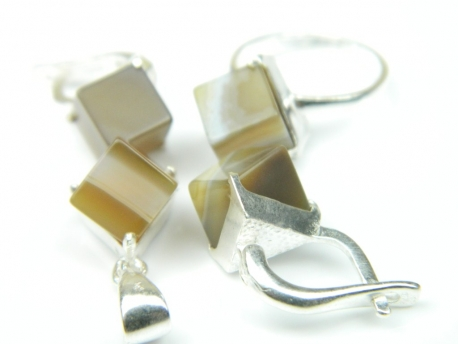 Set bijuterii argint, patru piese, calcedonia