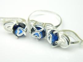 Set bijuterii argint, cercei si inel, safir
