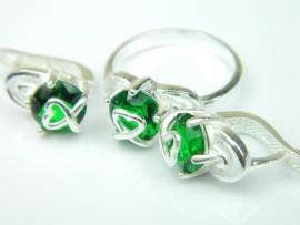 Set bijuterii argint, cercei si inel, smarald