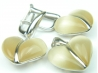 Set bijuterii argint rodiat, aspect aur alb, cercei si pandantiv, piatra bej