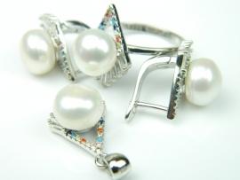 Set bijuterii argint rodiat, aspect aur alb, patru piese, perle si zirconii