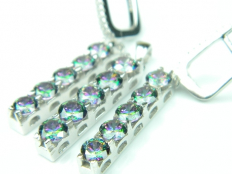 Set bijuterii argint, cercei si pandantiv, topaz mistic