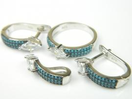 Set bijuterii argint rodiat, aspect aur alb, patru piese, turcoaz si topaz alb