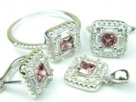 Set bijuterii argint rodiat, aspect aur alb, patru piese, ametist si zirconia