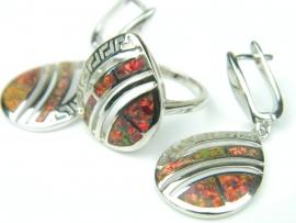 Set bijuterii argint rodiat, aspect aur alb, cercei si inel, opal de foc si zirconia