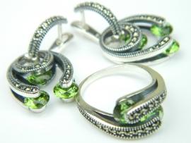 Set bijuterii argint, cercei si inel, zultanit si marcasite