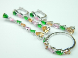 Set bijuterii argint rodiat, aspect aur alb, patru piese, turmaline