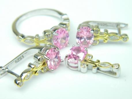 Set bijuterii argint rodiat si aurit, aspect aur alb si galben, patru piese, topaz roz si zirconia