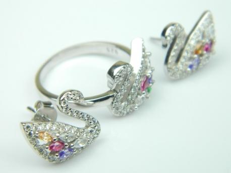 Set bijuterii argint rodiat, aspect aur alb, cercei si inel, zirconii multicolore