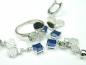 Set bijuterii argint rodiat, aspect aur alb, patru piese, safir si zirconia