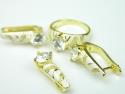 Set bijuterii argint aurit, patru piese, topaz alb, email si zirconia