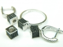 Set bijuterii argint rodiat, aspect aur alb, patru piese, zirconii