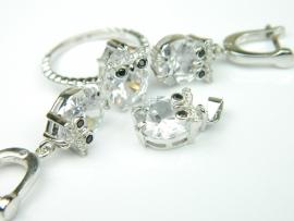 Set bijuterii argint rodiat, aspect aur alb, patru piese, zirconia