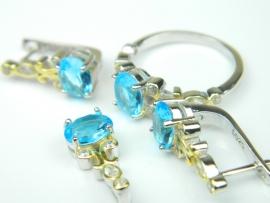 Set bijuterii argint rodiat si aurit, aspect aur alb si galben, patru piese, topaz bleu si zirconia