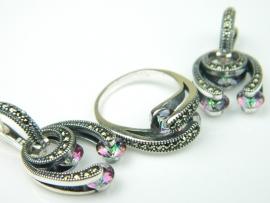 Set bijuterii argint rodiat, aspect aur alb, cercei si inel, topaz mistic si marcasite