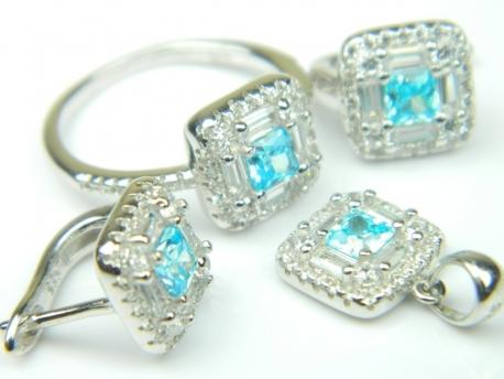 Set bijuterii argint rodiat, aspect aur alb, patru piese, topaz bleu si zirconia