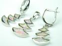 Set bijuterii argint rodiat, aspect aur alb, cercei si pandantiv, opal roz