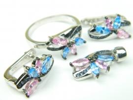Set bijuterii argint rodiat, aspect aur alb, patru piese, topaz bleu, topaz roz si zirconia