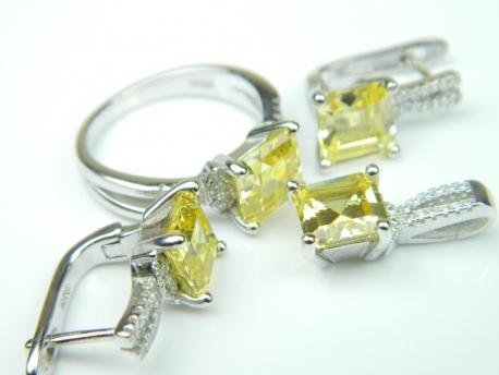 Set bijuterii argint rodiat, aspect aur alb, patru piese, citrin si zirconia