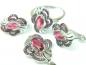 Set bijuterii argint rodiat, aspect aur alb, patru piese, rubin si zirconia