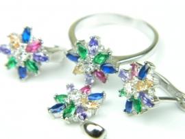 Set bijuterii argint rodiat, aspect aur alb, patru piese, zirconii multicolore