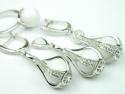 Set bijuterii argint rodiat, aspect aur alb, patru piese, cubic zirconia