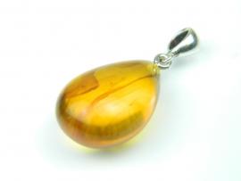 Pandantiv argint, handmade, chihlimbar natural (Honey Amber)