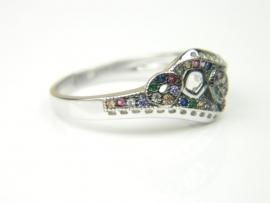Inel argint rodiat, aspect aur alb, zirconii multicolore