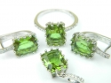 Set bijuterii argint rodiat, aspect aur alb, patru piese, zultanit si zirconia