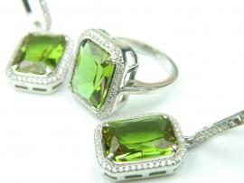 Set bijuterii argint rodiat, aspect aur alb, inel si cercei, zultanit si zirconii