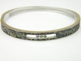 Bratara argint rodiat, aspect aur alb, zirconii multicolore