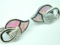 Cercei argint rodiat, aspect aur alb, opal roz si zirconii