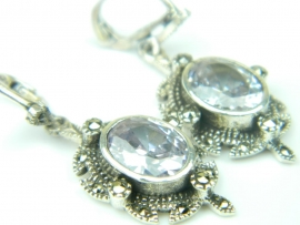 Cercei argint, handmade, vintage, ametist si marcasite