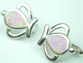 Cercei argint rodiat, aspect aur alb, opal roz