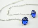Cercei argint rodiat, zirconii albastre