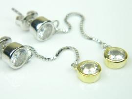 Cercei argint rodiat si aurit, zirconii