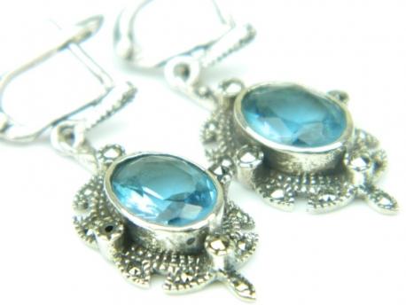 Cercei argint, handmade, vintage, topaz bleu si marcasite